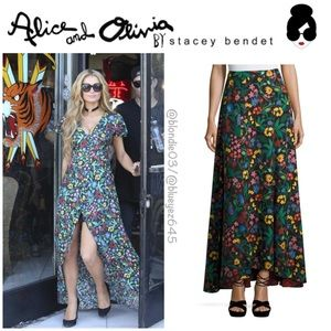 Alice & Olivia high low floral maxi skirt 0